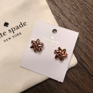 BOURGEOIS BOW KATE SPADE EARRINGS - ROSE GOLD